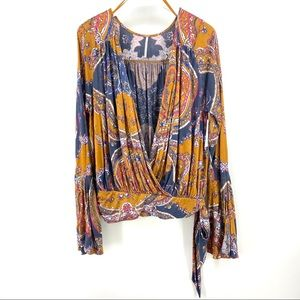 Free People Fiona Wrap Top L Paisley V Surplice